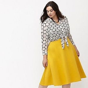 Lane Bryant Yellow Ponte Circle Skirt